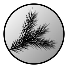 Fir tree branch button