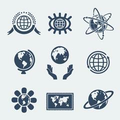 Set of symbols planet earth
