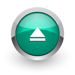 eject green glossy web icon