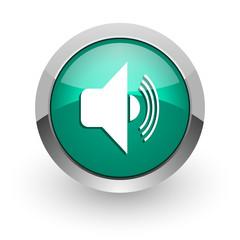volume green glossy web icon