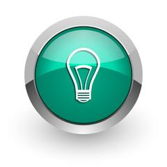 bulb green glossy web icon