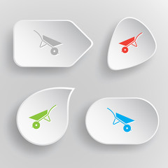Wheelbarrow. White flat vector buttons on gray background.