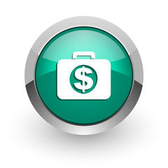financial green glossy web icon