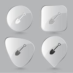 Spade. Glass buttons. Vector illustration.