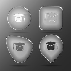 Graduation cap. Glass buttons. Vector illustration.
