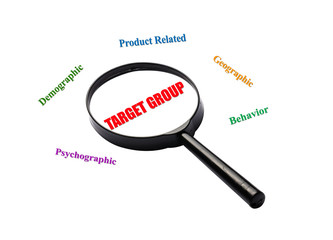The word target group is magnified on white background.