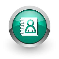address book green glossy web icon