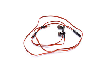 red earphones isolated on white background
