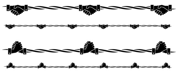 shake hands barb wire symbol on isolated backgroud