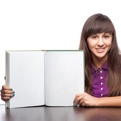 girl holding open book