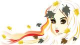 podzimní dívka s bílými vlasy