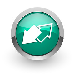 exchange green glossy web icon