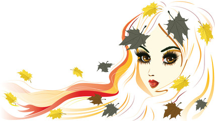 Autumn Girl with White Hair