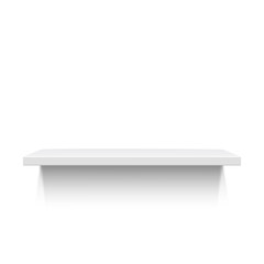 White realistic shelf isolated on white background