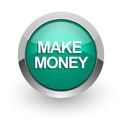 make money green glossy web icon