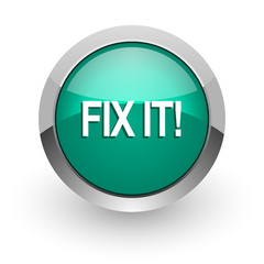 fix it green glossy web icon