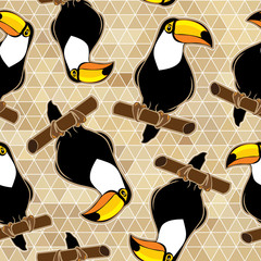 Seamless exotic brazil toucan bird background pattern in vector.