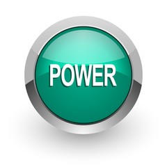 power green glossy web icon