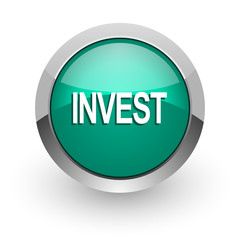 invest green glossy web icon