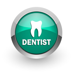 dentist green glossy web icon