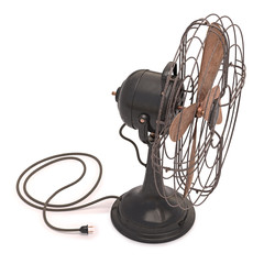 Old Antique Fan. Clipping path included.