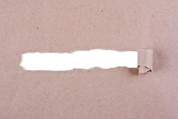 Brown package paper torn