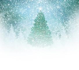 Christmas tree on snow background.