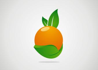 orange fruits abstract emblem or logo ecology