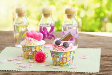 Sweet cupcake in the garden