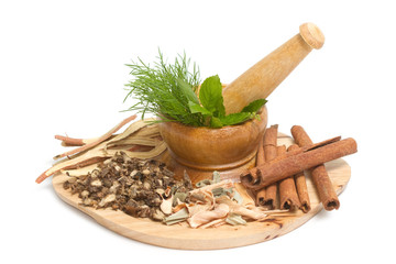 Mortar and pestle with dry herb