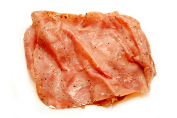 Pastrami Luncheon Meat Isolated on a White Background