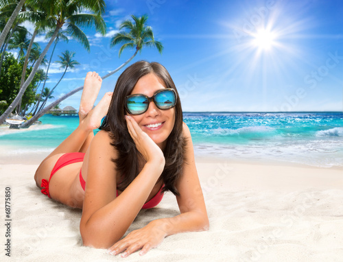 canvas print picture girl on the sand - in a tropical paradise island