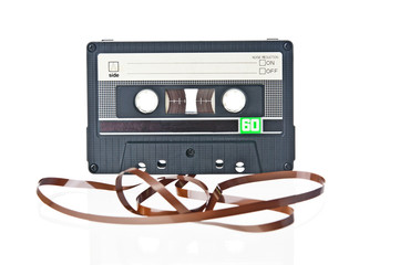Audio tape cassette record on white background