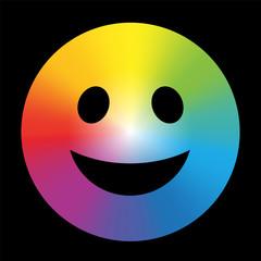 Rainbow Color Gradient Smiley Black