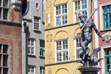 Poland-Gdansk.Famous Neptune fountain at Dlugi Targ square