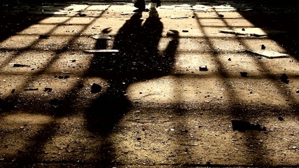 shadow of a man walking