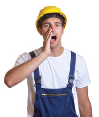 Bauarbeiter ruft Verstärkung