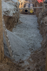 Pipes in trench, industrial pipeline 3