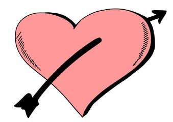 doodle heart pierced by arrow