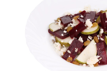 Beet salad with feta cheese and raisins.