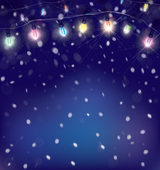 Vector Christmas lights on snowfall background.