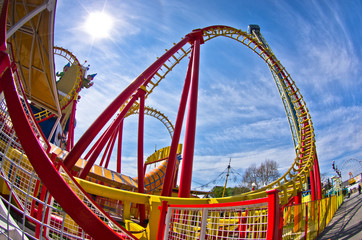 View of colorful roller coaster in Prater amusement park, Vienna