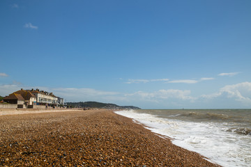 Hythe beach in the summer, kent, UK