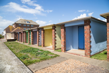 Colourful beach huts, Hythe, Kent, UK