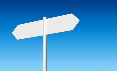 Blank white signpost on a blue sky background
