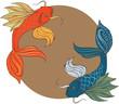 Постер, плакат: Рыбы на фоне восходящего солнца