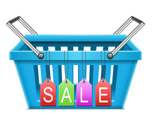 Shopping basket with sale tag