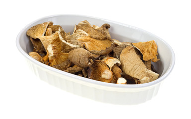 Dehydrated oyster mushrooms in a oval dish