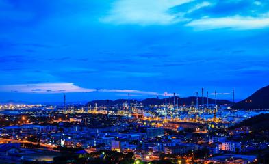Oil refinery plant at twilight night
