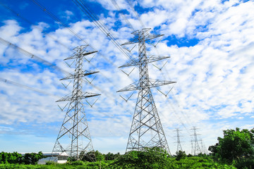 electricity high voltage power pylon and blue sky